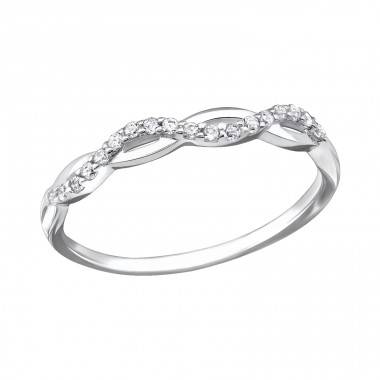 Twisted - 925 Sterling Silver Rings with Zirconia stones A4S29238