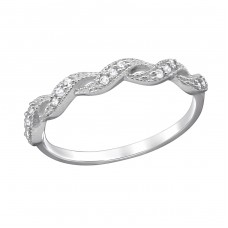 Twisted - 925 Sterling Silver Rings with Zirconia stones A4S29249