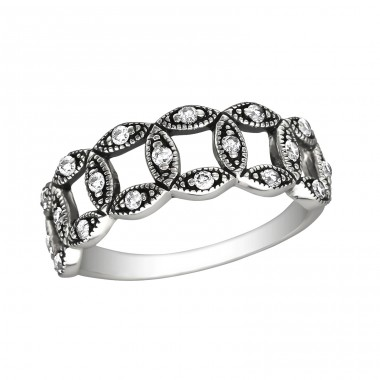 Intertwining - 925 Sterling Silver Rings with Zirconia stones A4S30140