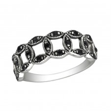 Intertwining - 925 Sterling Silver Rings with Zirconia stones A4S30141