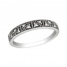 Patterned - 925 Sterling Silver Rings with Zirconia stones A4S30144