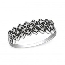 Oxidized - 925 Sterling Silver Rings with Zirconia stones A4S30146