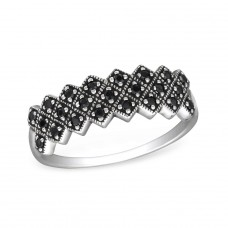 Oxidized - 925 Sterling Silver Rings with Zirconia stones A4S30147
