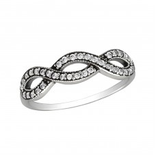 Intertwining - 925 Sterling Silver Rings with Zirconia stones A4S30150