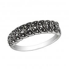 Patterned - 925 Sterling Silver Rings with Zirconia stones A4S30153