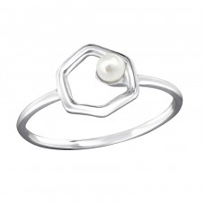 Hexagon - 925 Sterling Silver Rings with Zirconia stones A4S30407