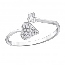 Heart Micro Pave - 925 Sterling Silver Rings with Zirconia stones A4S30528