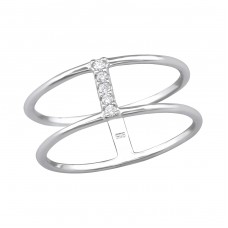 Double Line - 925 Sterling Silver Rings with Zirconia stones A4S30536