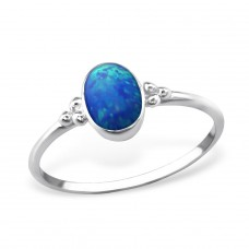 Oval Opal - 925 Sterling Silver Rings with Zirconia stones A4S30546