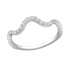Wave - 925 Sterling Silver Rings with Zirconia stones A4S30647