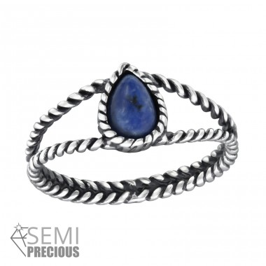 Twisted Band - 925 Sterling Silver Rings with Zirconia stones A4S30663