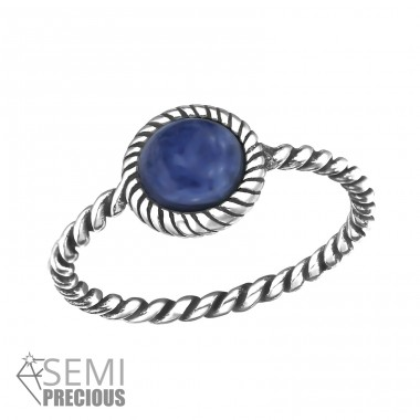 Twisted Band - 925 Sterling Silver Rings with Zirconia stones A4S30664
