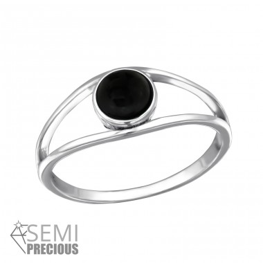 Double Line - 925 Sterling Silver Rings with Zirconia stones A4S30669