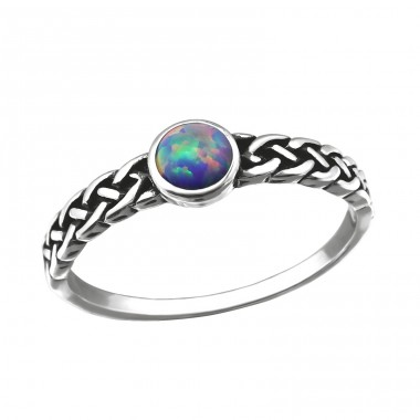 """Braided """"Multi Lavender"""" Opal - 925 Sterling Silver Rings With Zirconia Stones A4S30674"""