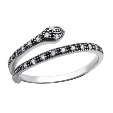 Snake - 925 Sterling Silver Rings with Zirconia stones A4S30967
