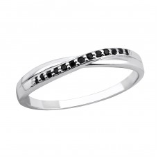 Intertwining - 925 Sterling Silver Rings with Zirconia stones A4S30968