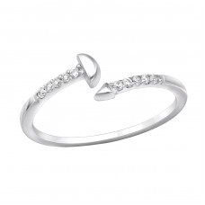 Open Geometric - 925 Sterling Silver Rings with Zirconia stones A4S30975