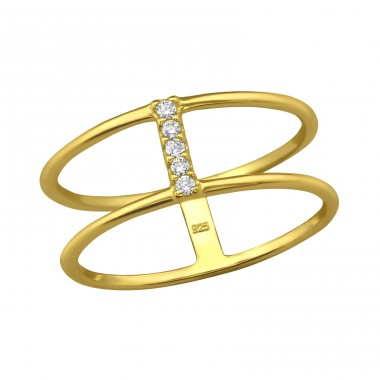 Double Line - 925 Sterling Silver Rings with Zirconia stones A4S30996