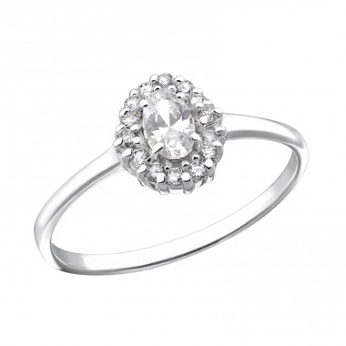 Oval Halo - 925 Sterling Silver Rings with Zirconia stones A4S31156