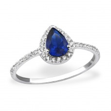 Pear Halo - 925 Sterling Silver Rings with Zirconia stones A4S31160