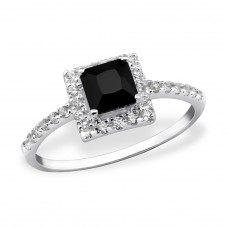 Square Halo - 925 Sterling Silver Rings with Zirconia stones A4S31161