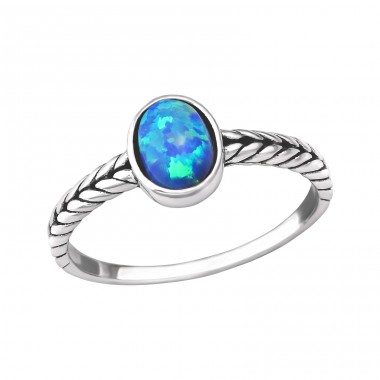 Oval Opal - 925 Sterling Silver Rings with Zirconia stones A4S31195
