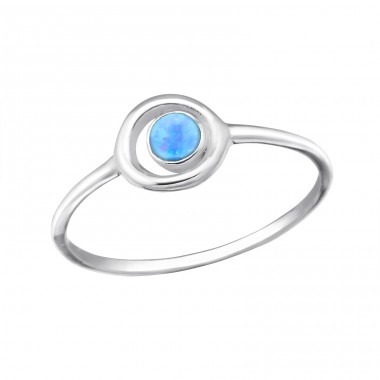 "Circle ""Azure"" Opal - 925 Sterling Silver Rings With Zirconia Stones A4S31417"