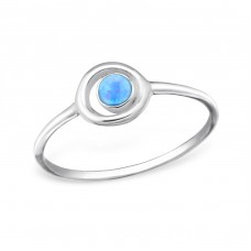 Circle Opal - 925 Sterling Silver Rings with Zirconia stones A4S31417