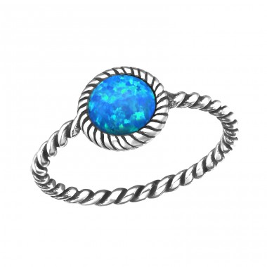 "Twisted Band ""Pacific Blue"" Opal - 925 Sterling Silver Rings With Zirconia Stones A4S31457"