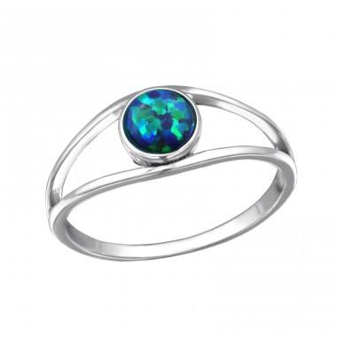 "Single Stone ""Peacock"" Opal - 925 Sterling Silver Rings With Zirconia Stones A4S31458"