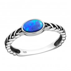 Braided Opal - 925 Sterling Silver Rings with Zirconia stones A4S31460