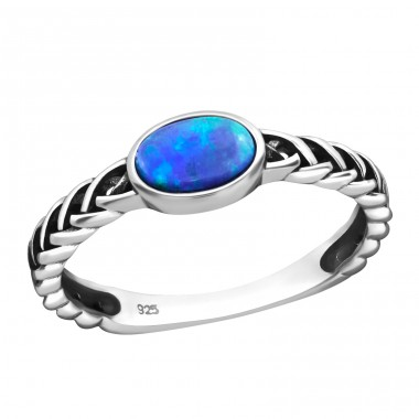 "Braided ""Pacific Blue"" Opal - 925 Sterling Silver Rings With Zirconia Stones A4S31460"