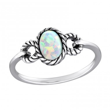 "Oval ""Fire Snow"" Opal - 925 Sterling Silver Rings With Zirconia Stones A4S31461"