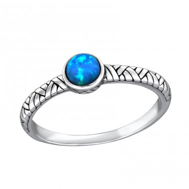 "Oxidized ""Pacific Blue"" Opal - 925 Sterling Silver Rings With Zirconia Stones A4S31474"