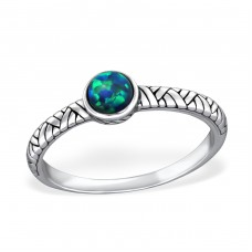 Oxidized Opal - 925 Sterling Silver Rings with Zirconia stones A4S31475