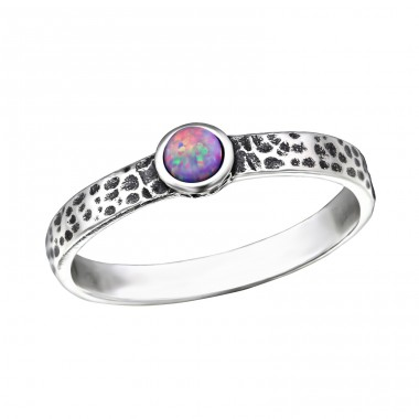"Hammered ""Multi Lavender"" Opal - 925 Sterling Silver Rings With Zirconia Stones A4S31787"