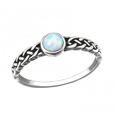 "Braided ""Fire snow"" Opal - 925 Sterling Silver Rings With Zirconia Stones A4S31873"