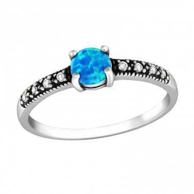 "Round ""Pacific Blue"" Opal stone - 925 Sterling Silver Rings With Opal Stones A4S32312"