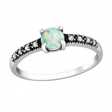 "Solitaire ""Fire snow"" Opal - 925 Sterling Silver Rings With Zirconia Stones A4S32313"