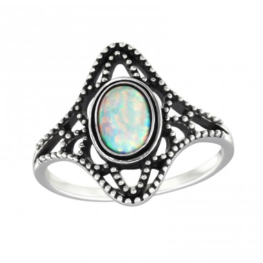 "Antique ""Fire Snow"" Opal - 925 Sterling Silver Rings With Zirconia Stones A4S32324"