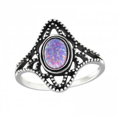 Antique Opal - 925 Sterling Silver Rings with Zirconia stones A4S32325