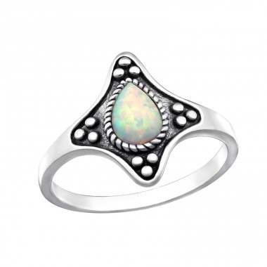 "Oxidized ""Fire snow"" Opal - 925 Sterling Silver Rings With Opal Stones A4S32335"