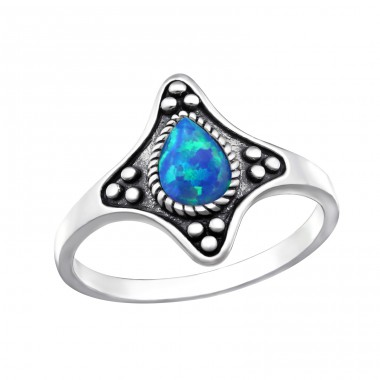 "Oxidized ""Pacific Blue"" Opal - 925 Sterling Silver Rings With Zirconia Stones A4S32336"