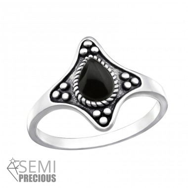 Oxidized - 925 Sterling Silver Rings with Zirconia stones A4S32337