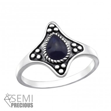 Oxidized - 925 Sterling Silver Rings with Zirconia stones A4S32338