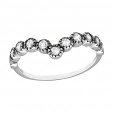 V-Shaped - 925 Sterling Silver Rings with Zirconia stones A4S32342