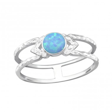 "Double Line ""Azure"" Opal - 925 Sterling Silver Rings With Opal Stones A4S32344"