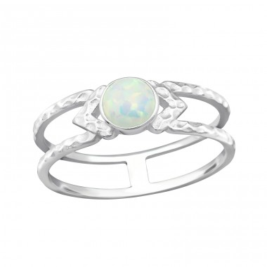 "Double Line ""Fire Snow"" Opal - 925 Sterling Silver Rings With Opal Stones A4S32345"