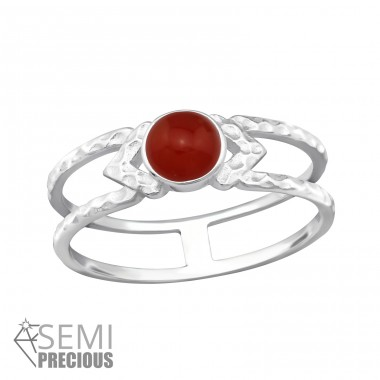 Double Line - 925 Sterling Silver Rings with Zirconia stones A4S32348