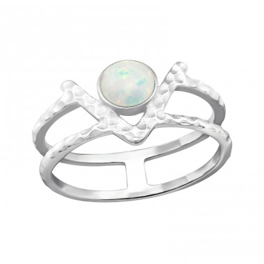 Double Line Opal - 925 Sterling Silver Rings with Zirconia stones A4S32349